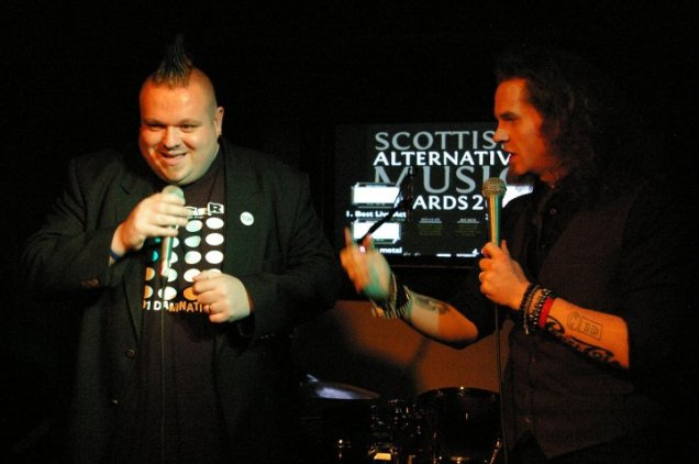 Jim Gellatly and host Billy Kirkwood - photo by Elaine Fisher
